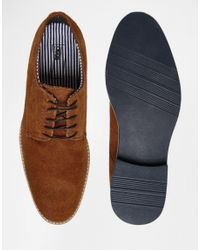 ASOS - Brown Derby Shoes In Tan Suede With Contrast Sole for Men - Lyst
