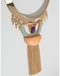 Nylon - Metallic Statement Collar Necklace With Fringe Detail - Lyst