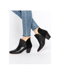 H by Hudson | Chime Black Leather Heeled Ankle Boots | Lyst