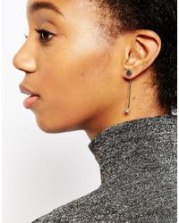 ASOS - Metallic Limited Edition Disc Post Cube Drop Earrings - Lyst