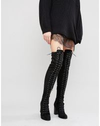 Public Desire | Black Blake Lace Up Heeled Over The Knee Boots | Lyst