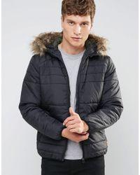 Jack & Jones | Black Originals Padded Jacket With Faux Fur Hood for Men | Lyst