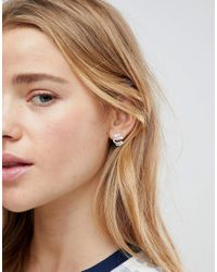 ASOS - Metallic Sterling Silver Textured Squiggle Earrings - Lyst