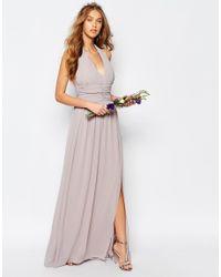 TFNC London - Multicolor Wedding Halter Chiffon Maxi Dress - Lyst