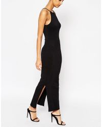 ASOS - Black Maxi Dress With 90s High Neck - Lyst