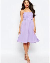 ASOS | Purple Wedding Ruched Bust Midi Dress | Lyst