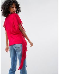 ASOS - Red T-shirt With Dramatic Assymetric Woven Ruffle - Lyst