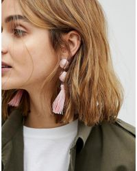 ASOS - Pink Wrapped Bead & Tassel Earrings - Lyst