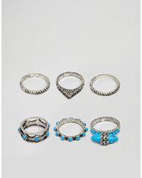ASOS Ringset in Silber poliert mit Steinverzierung in Metallic für Herren