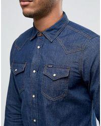 DIESEL | Blue New-sonora-e Denim Shirt Slim Fit for Men | Lyst