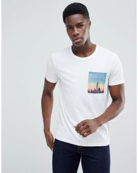 Esprit White T-shirt With City Print Pocket for men