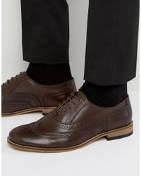 Dune - Braker Brogues In Brown Leather for Men - Lyst