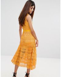 True Decadence - Orange Midi Lace Dress With Frill Detail - Lyst