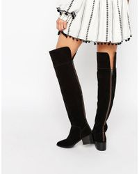 ASOS - Black King Fisher Suede Over The Knee Boots - Lyst