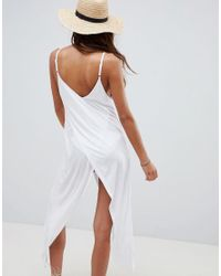 ASOS - White Design Cross Front Wrap Jersey Beach Cover Up - Lyst