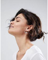 ASOS DESIGN - Metallic Palm Tree Hoop Stud Earrings - Lyst