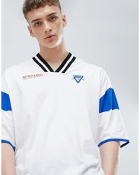 ASOS - White Design Oversized T-shirt With Tipped V Neck And Print for Men - Lyst