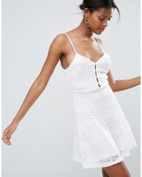 New Look - White Button Down Lace Skater Dress - Lyst