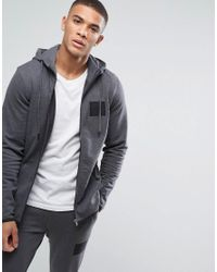 Jack & Jones - Gray Core Zip Through Hoodie With High Neck for Men - Lyst