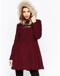 ASOS - Red Duffle Coat With Faux Fur Hood - Lyst