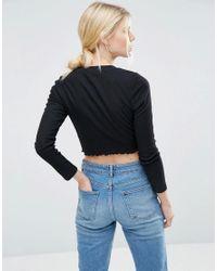ASOS - Black Crop Crew Neck Long Sleeve T-shirt 3 Pack Save 15% - Lyst