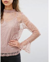 Club L | Pink High Neck Lace Detail Top With Cami Underlay | Lyst