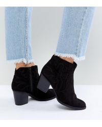 New Look - Black Western Heeled Ankle Boot - Lyst