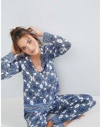 ASOS - Blue Tile Print Long Sleeve Shirt & Trouser Pyjama Set - Lyst