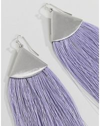 ASOS - Metallic Folded Metal Colour Pop Tassel Earrings - Lyst