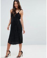 ASOS - Black Plisse Midi Dress - Lyst