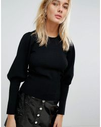 Stradivarius - Black Exaggerated Volume Sleeve Jumper - Lyst