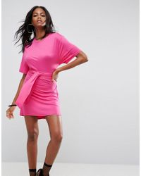 ASOS - Pink Mini Dress With Self Tie Belt - Lyst