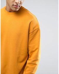 ASOS - Oversized Sweatshirt In Yellow for Men - Lyst