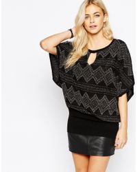 Oasis | Black Asis Lurex Patterned Knit With Keyhole Detail | Lyst