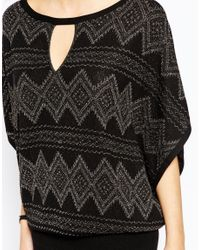 Oasis - Black Asis Lurex Patterned Knit With Keyhole Detail - Lyst