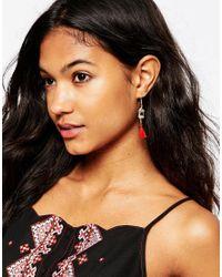 ASOS | Red Mini Square Tassel Earrings | Lyst