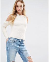 Daisy Street | Natural Halter Neck Knit Rib Jumper With Cold Shoulder | Lyst