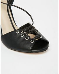 ASOS - Black Headspin Lace Up Heeled Sandals - Lyst