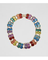 ASOS - Metallic Asos Design Curve Exclusive Statement Necklace With Multicolour Jewels In Gold - Lyst