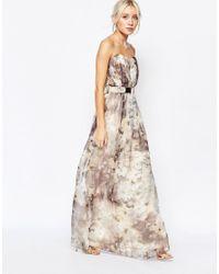 Little Mistress - Multicolor Printed Bandeau Maxi Dress With Bar Belt - Multi - Lyst