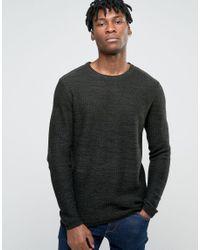 Jack & Jones | Black Crew Neck Knitted Jumper In Yarn Dye for Men | Lyst