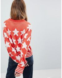 ASOS - Orange Jumper In Star Print - Lyst