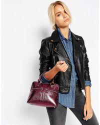 Modalu - Micro Pippa Leather Grab Bag - Claret Red Met - Lyst