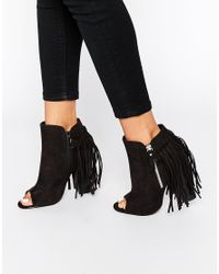 Truffle Collection - Brown Vela Tassel Peep Toe Heeled Ankle Boots - Lyst