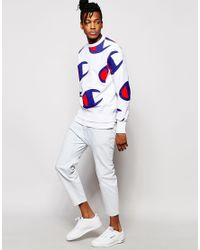 Champion - White Sweatshirt With All Over Logo Print - Lyst