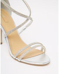 ALDO - Metallic Arenani Silver Cross Front Heeled Sandals - Lyst