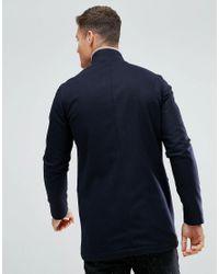 Noak - Blue Asymmetric Funnel Neck Overcoat for Men - Lyst