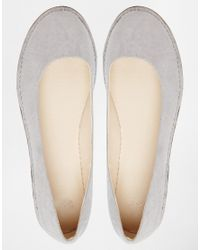 ASOS - Gray Line Up Ballet Flats - Lyst