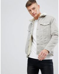 c719b556aa0 New Look Borg Lined Denim Jacket In Stone for Men - Lyst