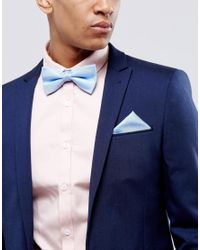 SELECTED | Blue Bow Tie & Pocket Square Set for Men | Lyst